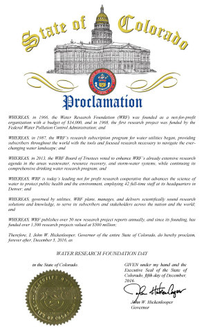 State of Colorado Proclamation Declares December 5, 2016 as Water Research Foundation Day (Graphic: Business Wire)