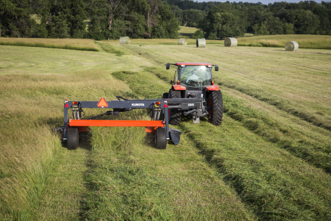 Rounding out Kubota's DMC8000 Series of mower conditioners is the new DMC8540R, a true full-width conditioner in a 13 ft. roller machine. (Photo: Business Wire)