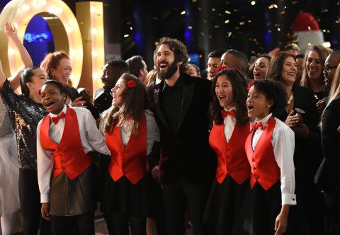 "Multi-platinum, international recording artist Josh Groban spreads holiday joy during a music video shoot at Grand Hyatt New York as part of the Grand Hyatt ""Go Grand for the Holidays"" campaign on Monday, Dec. 5, 2016, in New York. In the spirit of holiday giving, Hyatt donated to Groban's Find Your Light Foundation, which supports arts education. (Photo by Evan Agostini/Invision for Grand Hyatt/AP Images)"
