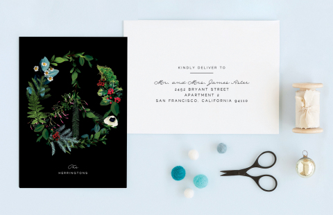 Floral Peace holiday card by Baumbirdy for Minted (Photo: Business Wire)
