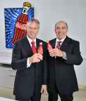James Quincey, President and Chief Operating Officer, The Coca-Cola Company, stands with Muhtar Kent, Chairman and Chief Executive Officer, The Coca-Cola Company. Quincey will succeed Kent as CEO, effective May 1, 2017. (Photo: Business Wire)