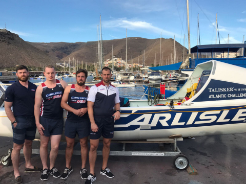 Carlisle Crew in La Gomera preparing for the race. L-R: Matt Brown, Alex Simpson, Angus Collins, Jas ...