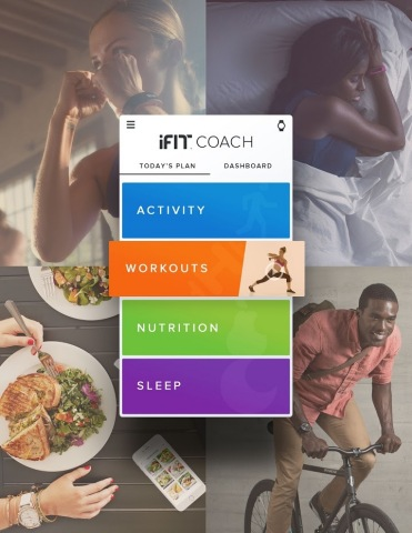 Announcing iFit Coach®, the first ever mobile smart coach to connect, monitor and dynamically adjust four key pillars of fitness: exercise, nutrition, activity and sleep. The mobile experience links consumers with the expertise of personal trainers, registered dietitians and sleep coaches to provide a customized daily plan, and is available now. (Photo: Business Wire)