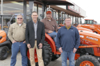 From the left: Michael O'Gorman, Farmer Veteran Coalition; Todd Stucke, Kubota Tractor Corporation; Chad Tackett, Geared to Give recipient; and Peyton McGill, Palmer Equipment. (Photo: Business Wire)