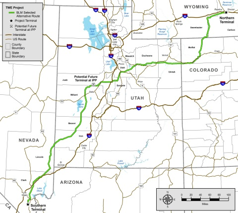 """The HVDC TransWest Express Transmission Project will add 3,000 megawatts of """"backbone"""" transmission capacity between the Desert Southwest and Rocky Mountain regions. It also will provide direct access to diverse renewable energy supplies, such as Wyoming wind power. About two-thirds of the route is on federal land. (Photo: Business Wire)"""