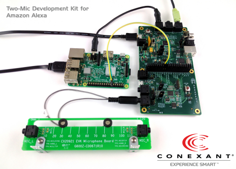 Conexant's AudioSmart™ 2-Mic Development Kit for Amazon Alexa Voice Service (AVS). Arrow is distributing, sourcing components and providing technical design support for the development kit. (Photo: Business Wire)