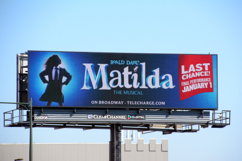 Entertainment brands like Matilda the Musical are leveraging Clear Channel Outdoor's new programmatic media buying solution powered by Rubicon Project. (Photo: Business Wire)