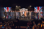 """Competitors gather around WWE EVP, Talent, Live Events and Creative Paul """"Triple H"""" Levesque at a press conference announcing the WWE United Kingdom Championship Tournament (Photo: Business Wire)"""