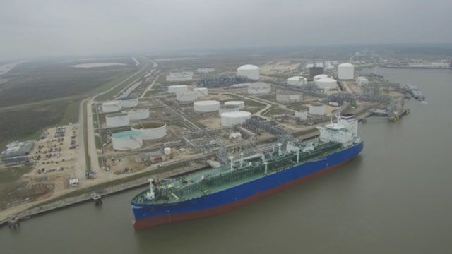 Aerial video of the first contracted cargo being loaded on the VLGC Commander at the Freeport LPG Export Terminal.