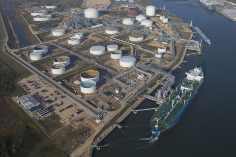 Aerial photo of the first contracted cargo being loaded on the VLGC Commander at the Freeport LPG Ex ...