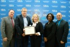 "Westfield Bank was recently named the ""Top Western Massachusetts 3rd Party Lender by Dollars and Volume"" in 2016 by the SBA. Pictured (left to right) are Robert Nelson, SBA Massachusetts District Director; Bernard Donnelly, Vice President, Commercial Loan Officer, Westfield Bank; Sharon Czarnecki, Assistant Vice President, Commercial Loan Administrator/CRA Officer, Westfield Bank; Nadine Boone, SBA Lead Business Opportunity Specialist; and Oreste Varela, SBA Branch Manager, Springfield. (Photo: Business Wire)"