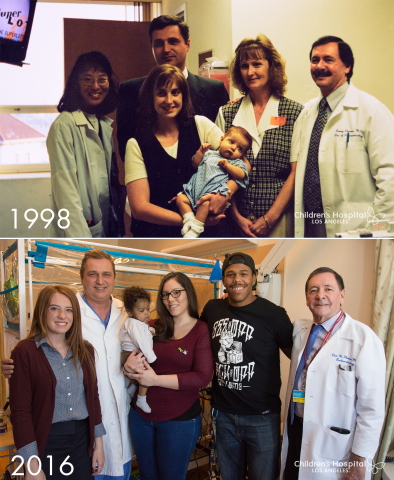 Top: Lydia Hand as an infant post-transplant in 1998, with her mother, grandmother and liver transplant team. Bottom: Baby Donovan Daniels and his parents post-transplant in 2016, joined by doctors and Lydia, now 18. (Photo: Children's Hospital Los Angeles)