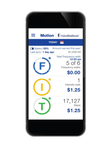 The UnitedHealthcare Motion app enables people to monitor their daily walking habits and earn up to $1,500 per year in financial rewards for meeting daily walking goals (Photo: UnitedHealthcare).