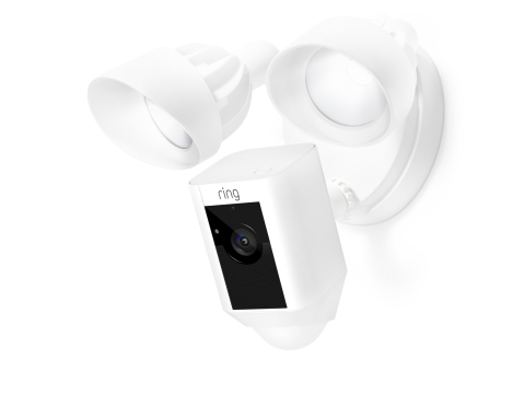 Ring Floodlight Cam is the most powerful security camera available and is easily installed in critical safety areas around the home. Floodlight Cam features an HD (1080p) video camera, cloud recording, the loudest speaker on any outdoor camera, a 100dB siren, 270-degree motion detection, smart LED lights and IR (night vision). (Photo: Business Wire).