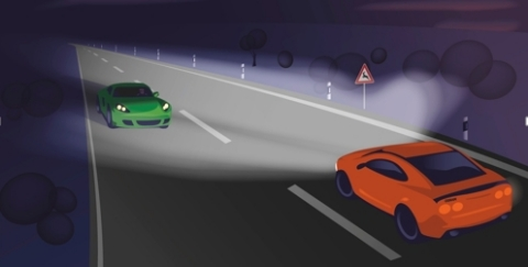 Advanced pixel headlights: Thanks to thousands of controllable pixels, the new class of smart adaptive headlights spare the head areas of other road users. This prevents glare while the surroundings remain perfectly illuminated. (Photo: Business Wire)