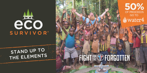 """Jasco teams up with non-profit partner, Water4, and hosts MMA fighter, Justin Wren, as a special guest at CES and brand collaborator for the new line of Eco Survivor outdoor tech accessories to help those without access to clean water."" (Graphic: Business Wire)"
