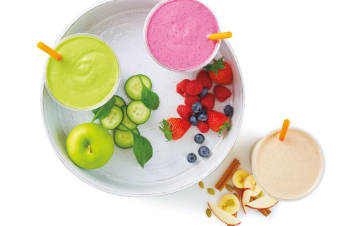 Super Blend Smoothies™: Green Up 'n Go™,  PB 'n Jealous™, Apples 'n Charge™ (Photo: Business Wire)
