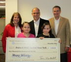 Wish Kids Mackenzie and McKayla join (left to right) Diane Kuppermann, president and CEO, Make-A-Wish Central New York; Dave Medvidofsky, vice president, human resources, The Main Street America Group; and Tom Van Berkel, Main Street America chairman and CEO, at the NGM Charitable Foundation's Honorarium Presentation Ceremony in Syracuse, N.Y. (Photo: Business Wire)
