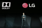 On Wednesday, January 4, 2017, Giles Baker, Senior Vice President, Consumer Entertainment,Dolby Laboratoriesand David VanderWaal, Vice President, Marketing, LG Electronics USA announced that LG 2017 OLED TVs will support Dolby Vision high-dynamic-range (HDR) technology and Dolby Atmos breakthrough audio at the 2017 Consumer Electronics Show (CES) in Las Vegas, NV. (Photo Credit: Las Vegas Event Photographers)