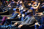Audience members use virtual reality headsets to experience a series of travel, work and play situations as Brian Krzanich, Intel chief executive officers, speaks at a company news conference on Wednesday, Jan. 4, 2017, in Las Vegas. Intel Corporation presents new technology at the 2017 International Consumer Electronics Show. The event runs from Jan. 5 to Jan. 8, 2017, in Las Vegas. (CREDIT: Walden Kirsch/Intel Corporation)
