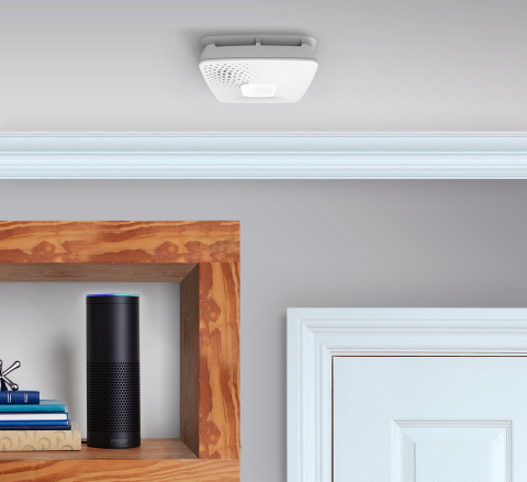 The sleek, modern-designed alarm is Apple HomeKit-enabled and works with Amazon Alexa, where users can ask Alexa the status of alarms or to help develop a family fire escape plan. (Photo: Business Wire)