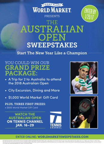 Cost Plus World Market Launches The Australian Open Sweepstakes Now Through January 29, 2017 (Graphic: Business Wire)