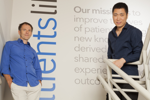 PatientsLikeMe and iCarbonX are partnering to accelerate a deeper understanding of human health and disease. PatientsLikeMe Co-founder and Chairman Jamie Heywood, left, with iCarbonX founder Jun Wang. (Photo: Business Wire)