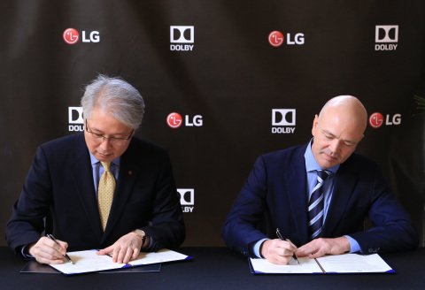 On Thursday, January 5, 2017, Kevin Yeaman, CEO, Dolby Laboratories, and Brian Kwon, CEO, LG Home Entertainment Company, held a signing ceremony in Las Vegas to commemorate their continued collaboration and to launch the LG 2017 OLED TVs, the first TVs to support Dolby Vision high-dynamic-range (HDR) technology and Dolby Atmos breakthrough audio. Photo Credit: Las Vegas Event Photographers