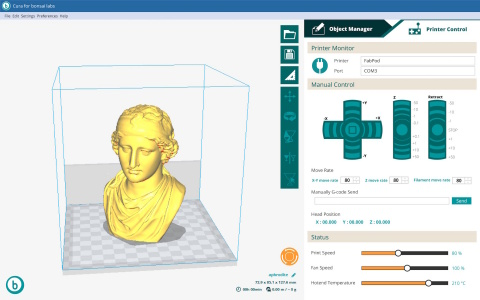 User-Friendly UI/UX: Cura for Bonsai Labs. Bonsai Lab added one stop printing feature to the printer control display to Cura, which is widely used in 3D printing world. (Graphic: Business Wire)