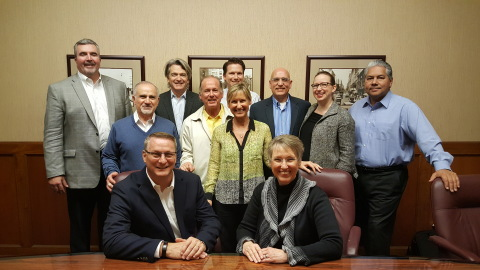 Michael Cash, Senior Vice President and President, Industrial Coatings of Axalta Coating Systems and Sandy Berg, President and CEO of Ellis Paint Company, joined by members of Axalta and Ellis management. (Photo: Axalta)