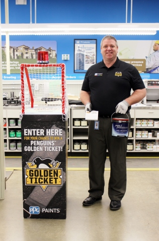 John Brent, delivery supervisor for Pittsburgh-area PPG PAINTS™ stores, encourages Pittsburgh Penguins fans to visit any of the 18 Pittsburgh-area PPG PAINTS stores between Monday, Jan. 9, and Friday, Feb. 3, to submit an entry for a chance to win a PPG-sponsored Penguins® Golden Ticket prize package. (Photo: Business Wire)
