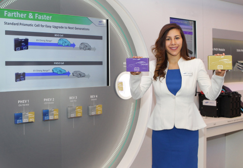 "Samsung SDI presented an Innovative Next Generation Battery with Fast Charging Capability and High Energy Density that enables Electric Vehicles (EV) to Drive 600km at the North American International Auto Show (NAIAS) 2017 on the 9th of January, 2017 in COBO Center, Detroit. It introduced in its customer exhibition a ""high-energy density battery cell of the next generation for a driving range of up to 600km that can fast charge EVs in 20 minutes"" as well as an ""integrated battery module"" concept with a 10% decrease in component units and weight compared to the currently produced models. (Photo: Business Wire)"
