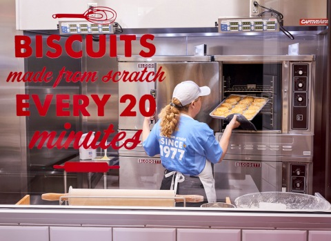 "Guests will be captivated by a ""Biscuit Theater"" where they can witness biscuits being made fresh every 20 minutes by a Bojangles' Master Biscuit Maker. (Photo: Bojangles')"