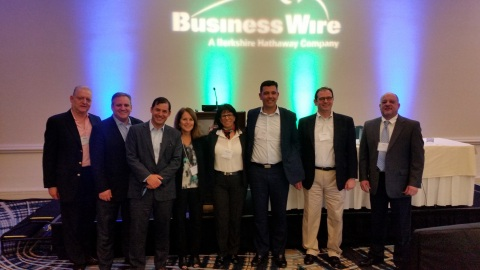 Business Wire appoints Aviva Shwartz as its authorized sales representative in Israel. Pictured left-to-right: Neil Hershberg, Richard DeLeo, Michael Becker, Cathy Baron Tamraz, Aviva Shwartz, Dick Bromley, Gregg Castano and Ken Bouton (Photo: Business Wire)