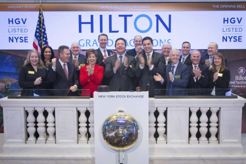 Executives and guests of Hilton Grand Vacations (NYSE:HGV) visit the New York Stock Exchange (NYSE)  ...