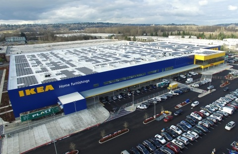 IKEA completes Washington's largest rooftop solar array atop relocated Seattle-area store, opening early Spring 2017 in Renton, WA (Photo: Business Wire)