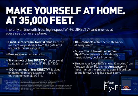 JetBlue Becomes Only Airline With Free, High-Speed Wi-Fi at Every Seat (Graphic: Business Wire)