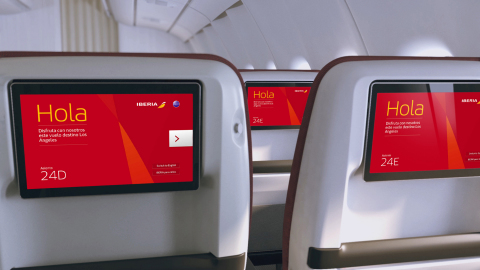 Iberia's Premium Economy Class offers more room between rows, wider and more reclinable seats, and 12-inch entertainment display screens. (Photo: Business Wire)