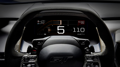 Like the glass cockpit in airplanes and race cars, the all-new Ford GT features an all-digital instr ...