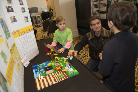 Inventor and FIRST founder Dean Kamen talks with Detroit-based FIRST student about their FIRST LEGO  ...