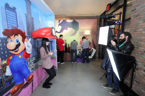 NEW YORK - JAN 13: In this photo provided by Nintendo of America, a guest poses for photos in the Super Mario Odyssey photo booth during a press event in New York on Jan. 13, 2017. Launching March 3, 2017, the Nintendo Switch video game system combines the power of a home console with the mobility of a handheld. It's a new era in gaming that delivers entirely new ways to play wherever and whenever people want. (Photo by Neilson Barnard/Getty Images for Nintendo of America)