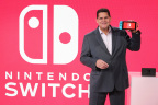 NEW YORK - JAN 13: In this photo provided by Nintendo of America, Nintendo of America President and COO Reggie Fils-Aime debuts the groundbreaking Nintendo Switch video game system at a press event in New York on Jan. 13, 2017. Launching March 3, 2017, Nintendo Switch combines the power of a home console with the mobility of a handheld. It's a new era in gaming that delivers entirely new ways to play wherever and whenever people want. (Photo by Neilson Barnard/Getty Images for Nintendo of America)