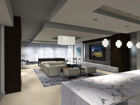A sneak peek of what's to come - Hanover North Broad's WiFi Clubhouse will feature a cozy TV lounge with billiards and catering kitchen. (Photo: Business Wire)