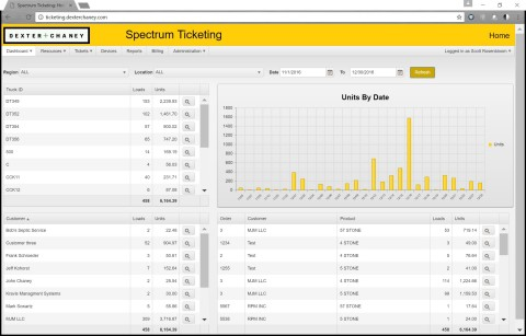 Spectrum Ticketing features a dynamic dashboard for easy material and ticketing management. (Photo: Business Wire)