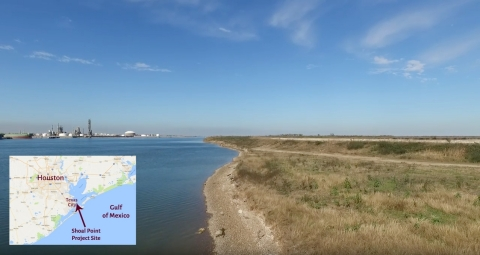 View of NextDecade's Shoal Point site on the right, view of City of Texas City on the left. (Photo: Business Wire)