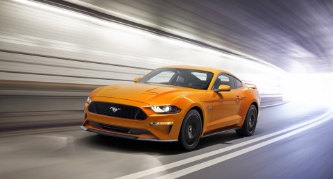 New Ford Mustang V8 GT with new front and rear-end design that delivers a more athletic look and refined aerodynamics. (Photo: Business Wire)