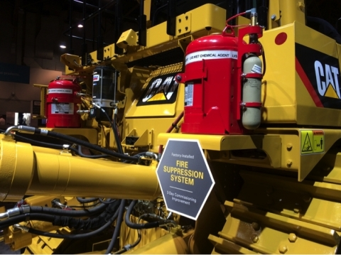CAT D10 dozer at MINExpo featuring a factory-installed LVS Liquid Agent Fire Suppression and CHECKFIRE 210 Detection and Actuation System. (Photo: Business Wire)
