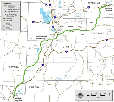 """The HVDC TransWest Express Transmission Project will add 3,000 megawatts of """"backbone"""" transmission capacity between the Desert Southwest and Rocky Mountain regions. It also will provide direct access to diverse renewable energy supplies, such as Wyoming wind power. About two-thirds of the route is on federal land. (Graphic: Business Wire)"""