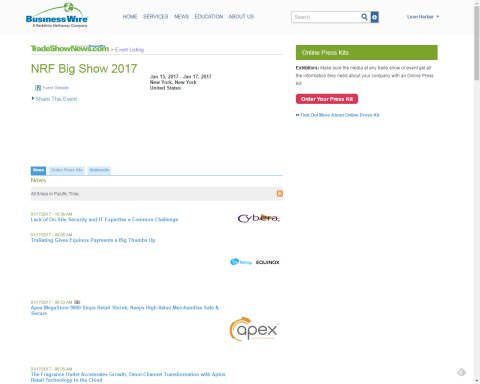 Business Wire will be making breaking exhibitor news releases available through the NRF Big Show 201 ...