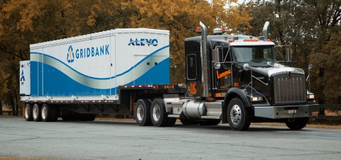 First Alevo GridBank being delivered to Hagerstown, Maryland, for installation (Photo: Business Wire ...